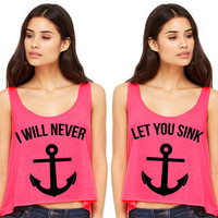Neon Pink Cropped Tank Top - I Will Never Let You Sink Summer Outfit Beach Tank Best Friends Duo