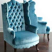 Haute House Peacock Velvet Wing Chair
