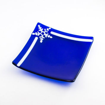 Fused Glass Snowflake Plate, Decorative Dish, Cobalt Blue and White, Winter Theme, Blue Kitchen Decor, Candle Plate, Unique Christmas Gifts