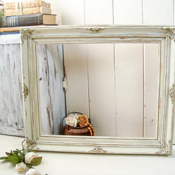 Rustic Cream Picture Frame, Shabby Chic Cream Large Open Frame, 16 x 20 Frame, Wedding Frame, Farmhouse Antique White Frame, Nursery Frame