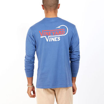 Men's T-Shirts: Long-Sleeve Vineyard Hook  Graphic Pocket T-Shirt for Men - Vineyard Vines