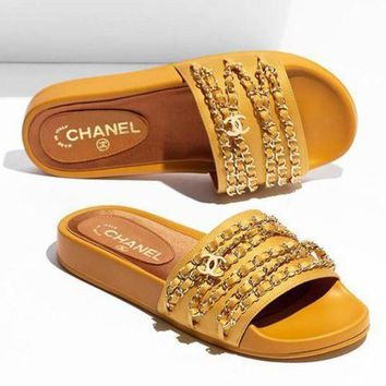 Chanel Shoes Chain Slippers Silk Satin Sandals2