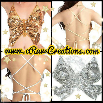 Bedazzled, Beaded, and Sequined Butterfly Tops, Customizable, 14 Colors Available