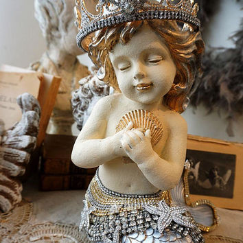 Ornate mermaid statue shabby cottage chic rhinestone embellished w/ crown golden silver hair beachy ocean figure decor anita spero design