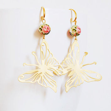 Gifts for her, Gold Butterfly Earrings, Japanese Tensha Rose Pearl, Boho Chic Earrings, Christmas gift ideas for women wife aunt sister