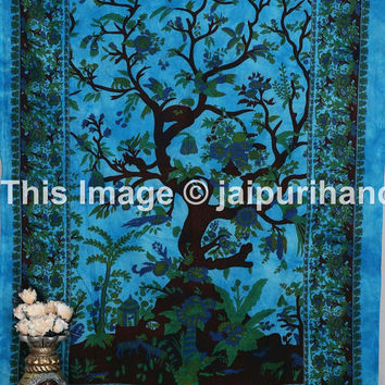 Twin tree of life tapestry, Tree Of Life Indian Tapestry, Beach Sheet Hanging Wall Art 60x90 Inches, wall art, forest tapestry, tree of life