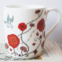 red rose mug by mary kilvert | notonthehighstreet.com