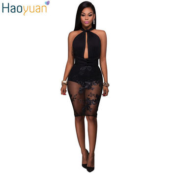 HAOYUAN Women Sexy Sequin Embroidered Dress Deep V Neck Backless Bodycon Off Shoulder Dress Summer Sexy Bandage Night Club Dress