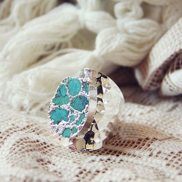 Tangled Turquoise Ring in Silver