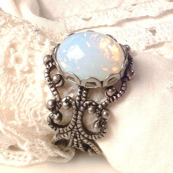 Opal Ring, Antique Silver Opal Ring, Vintage White Glass Pinfire Opal Filigree Adjustable Ring Victorian Bridesmaids October Birthstone