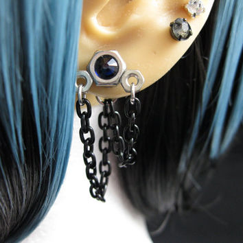 "Industrial Stainless Steel Hex Nut Earrings, Silver, Black, Dark Blue - ""Dark Storm"""