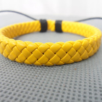Cool Adjustable yellow leather Cotton Rope Woven by sevenvsxiao