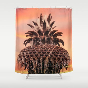Charleston Pink Designer Shower Curtain - fine art photography, Pineapple Fountain bathroom decor, unique art, 71x74, orange, yellow