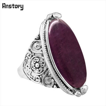 Flower Band Oval Opal Rings For Women Vintage Look Antique Silver Plated Personality Fashion Jewelry