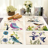 SunnyRain 4/6-Pieces Linen Cotton Birds Table Cloth Placemat Sets Table Decoration Table Runners 42x32cm