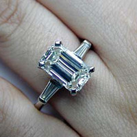 2.29ct G-VS1 Emerald Cut Diamond Engagement Platinum Ring  JEWELFORME BLUE