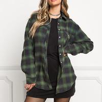 Hunter Green Plaid Flannel Top