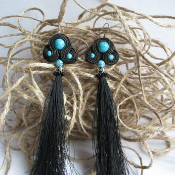 Soutache earrings Stones turquoise Soutache jewelry Long earrings Black earrings Earrings with stones Evening earrings Elegant earrings
