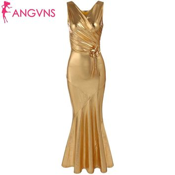 ANGVNS 2017 Vestido De Festa Sexy Elegant V-Neck Sequin Mermaid Long Evening Gowns Ruched Dresses Formal Vestidos with Brooch