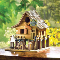 Whimsical Nautical Eucalyptus and Bamboo Wood Yacht Club Birdhouse