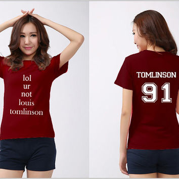 lol ur not louis tomlinson One Direction Shirt Louis Tomlinson 91 Logo Black, White, Maroon, Gray Men & Women Unisex t-Shirt Tee S,M,L,XL #1