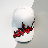 Embroidery Plum Blossom Flower Dad Hat