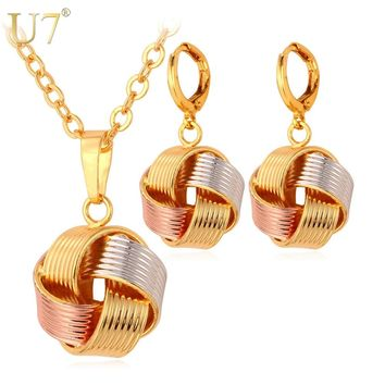 U7 Necklace Sets Women's Gift  Wholesale Mix Rose Gold/ Gold Color Unique Ball Necklace Earrings Jewelry Sets S613