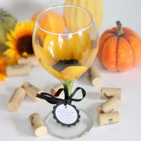 1 hand painted sunflower wine glass that is top by JudiPaintedit