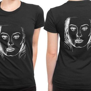 ONETOW Adele Twenty Five Cover Sketch Black 2 Sided Womens T Shirt