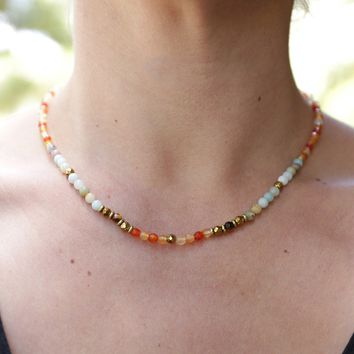 Carnelian and Amazonite Delicate Necklace