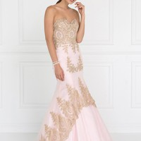 Gold embroidery prom dress  gls2428