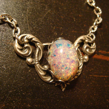Victorian Style Fire Opal Necklace in Antique Silver (1741)