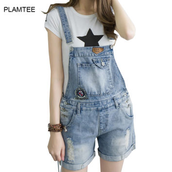 2017 Spring Summer Denim Playsuits with Hole for Women Ripped Jean Overalls Slim Fit Plus Size Strap Ladies Shorts Rompers XS-XL