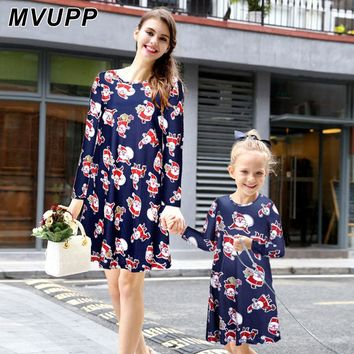 MVUPP mother and daughter clothes long sleeve christmas mother daughter matching dress Santa Claus mom and baby family outfit