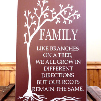 Family like branches on a tree wooden sign saying - distressed sign - wall hanging sign - family sign