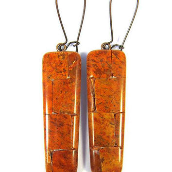 Polymer Clay Earrings - Fabulous Faux Sponge Coral Mosaic Earrings