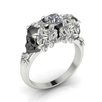 Skull Engagement Ring Floral Skull Combination  18 k