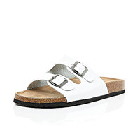 River Island MensWhite chunky double strap slip on sandals