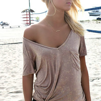 Pier Days Beige V-Neck Front Pocket Tee