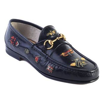 Gucci Men's Embroidered Horsebit Leather Loafer Black Shoes