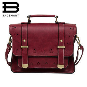 BAGSMART 2016 New Women PU Leather Messenger Bag Vintage Women Satchel Bag Leather Briefcase Handbag Bag Crossbody Bag