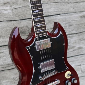 AIFEX Dark Red Angus Young Electric Guitar LP Small Pin Bridge