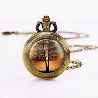 Sunset Tree Pocket Watch -Women Sweater Necklace, Bronzen Necklace,Mother's Day Gift
