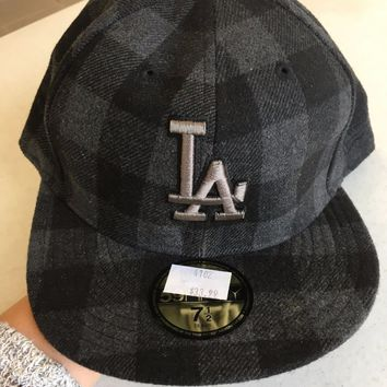 LOS ANGELES DODGERS MLB NEW ERA 5950 UNIQUE BLACK/GRAY PLAID FITTED HAT
