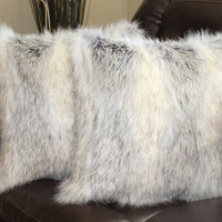 Faux Fur Canadian Fox Stone Pillow Cover 18 x 18 in - Set of 2