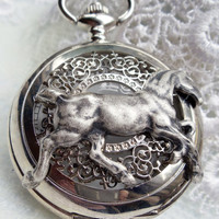 Horse pocket watch, men's pocket watch with horse mounted on front case in silver.