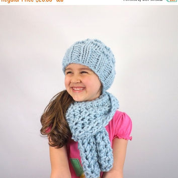 SALE Kids Chunky Scarf Hat Set /GLACIER/, Children Scarf Hat Bundle, Unisex Kids Winter Set, Gift Idea