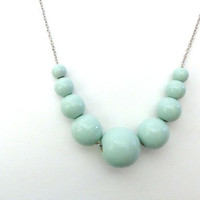 Mint green beaded necklace, graduated wood bead necklace, natural jewelry, mom necklace