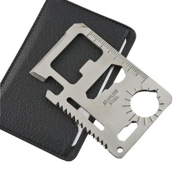 1pc 11 in 1 Multi-purpose Stainless Steel Bottle Opener Outdoor Hunting Survival Camping Military Credit Card Knife