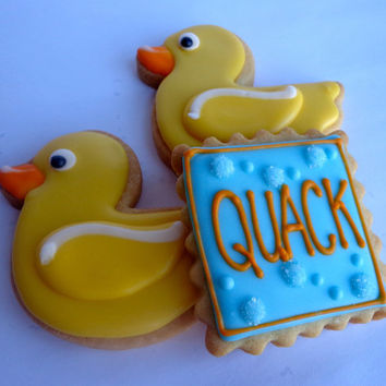 RUBBER DUCKY Sugar Cookie Party Favors, 1 Dozen